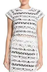 Women's Adrianna Papell Lace Overlay Stripe Cap Sleeve Top