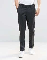 Asos Super Skinny Trouser In Charcoal Jersey With Turn Up Charcoal Grey