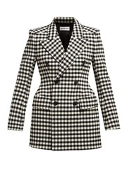 Balenciaga Vichy Double Breasted Checked Hourglass Jacket Black White