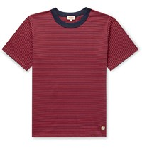Armor Lux Striped Cotton Jersey T Shirt Red