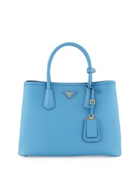 Prada Saffiano Cuir Double Small Tote Bag Light Blue Dark Blue Mare Bluette Men's Mare Bluette