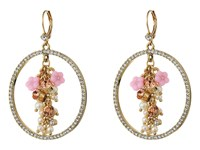 Betsey Johnson Pink Multi Flower Gypsy Hoop Earrings Multi Earring