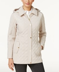 Jones New York Hooded Quilted Coat Biscotti