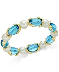Charter Club Gold Tone Imitation Pearl And Aqua Stone Stretch Bracelet Only At Macy's