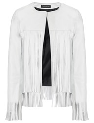 Theperfext White Leather Fringe April Jacket