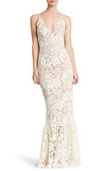 Dress The Population Sophia Crochet Lace Mermaid Gown White Nude
