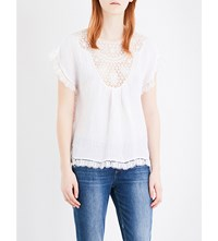 Masscob Lace Embroidered Linen Blend Top White