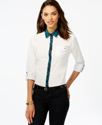 Tommy Hilfiger Plaid Trim Button Down Top Bright White