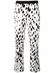 Twin Set Brush Print Cropped Trousers White