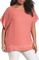 Eileen Fisher Plus Size Women's Sheer Silk Georgette Top Coral