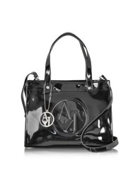 Armani Jeans Signature Faux Patent Leather Tote Black