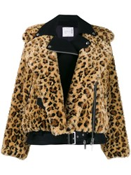 Sacai Leopard Faux Fur Jacket Yellow