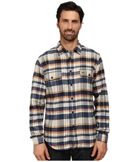 Lacoste Long Sleeve Check Flannel Woven Shirt With Nylon Trim At Neckline Trade Wind Blue Navy Blue Pulp Men's Long Sleeve Button Up Multi