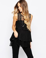 Hazel Crochet Insert Sleeveless Top Black