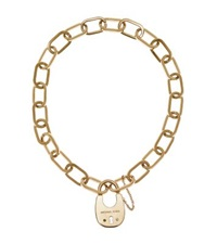 Michael Kors Gold Tone Padlock Necklace