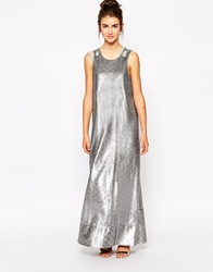 Native Rose Maxi Dress In Matt Sequins Silver