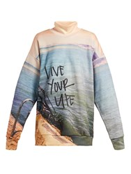 Marques Almeida Live Your Life Printed Jersey Sweatshirt Blue Print