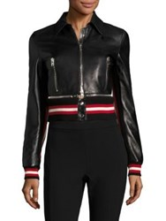 Givenchy Leather Zip Front Jacket Black