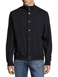 Saks Fifth Avenue Solid Long Sleeve Bomber Jacket Navy