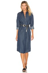 Blq Basiq Chambray Shirt Dress Dark Denim