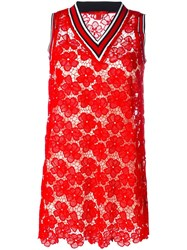 Hilfiger Collection Floral Lace V Neck Dress Red