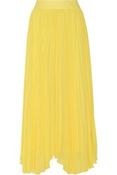 Alice Olivia Pleated Chiffon Maxi Skirt Yellow