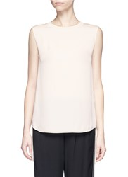 Vince Knit Sash Sleeveless Silk Top Neutral