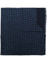 Isaia Houndstooth Pattern Scarf Blue
