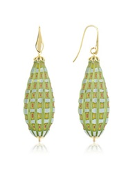 House Of Murano Old Venice Oval Gold Foil Drop Earrings Green