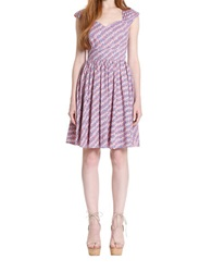 Plenty By Tracy Reese Mixed Stripe Pleated Cap Sleeve Dress Watery Plaid