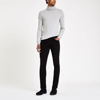 River Island Black Sid Cord Skinny Stretch Trousers