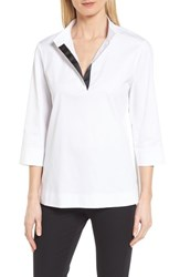 Ming Wang Ribbon Trim Blouse White Black