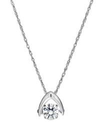 Twinkling Diamond Star Diamond Wishbone Pendant Necklace In 14K White Gold 5 8 Ct. T.W.