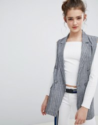 Bershka Pin Stripe Sleeveless Blazer Grey