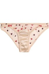 Mimi Holliday Paneled Embroidered Tulle And Satin Briefs Ivory