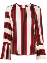 Tory Burch Striped Flare Sleeve Blouse White