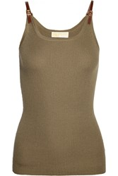 Michael Michael Kors Leather Trimmed Ribbed Knit Tank