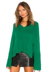 Autumn Cashmere Bell Sleeve V Neck Sweater Green