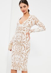 Missguided White Bandage Patterned Strap Detail Bodycon Dress