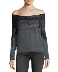 Gypsy 05 Comfy Off The Shoulder Tie Dye Tee Charcoal