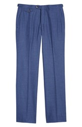 Hickey Freeman B Fit Flat Front Solid Wool Blend Trousers Blue Solid