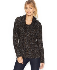 Kensie Long Sleeve Cowl Neck Cable Knit Sweater Only At Macy's Black Combo