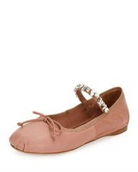 Miu Miu Jeweled Strap Leather Ballerina Flat Flesh