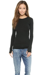 Enza Costa Cashmere Cuffed Crew Top Black