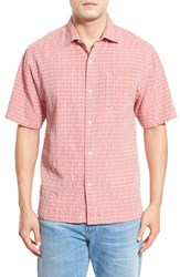 Men's Big And Tall Tommy Bahama 'Dobby Nuevo' Original Fit Short Sleeve Silk Blend Sport Shirt Red Earth