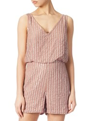 Adrianna Papell Beaded Playsuit Rose Gold