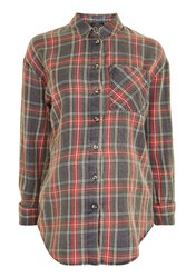 Topshop Maternity Tartan Checked Shirt Red
