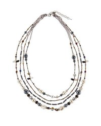 Emily And Ashley Long Multi Strand Beaded Necklace Grey