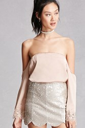 Forever 21 Satin Off The Shoulder Top Cocoa