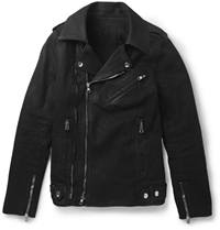 Balmain Waxed Cotton Biker Jacket Black